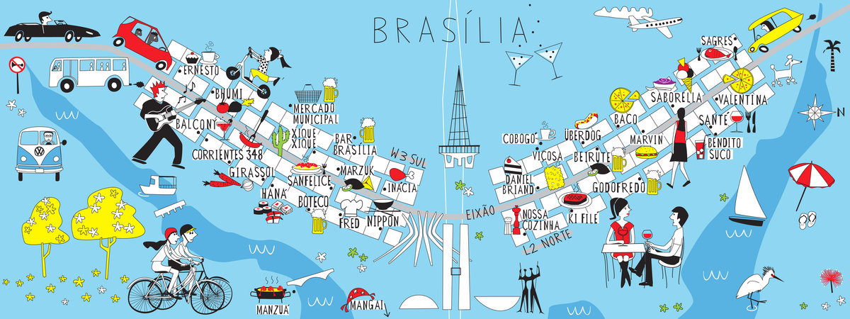 They Draw and Travel Artist Map of Brasilia O Papagaio
